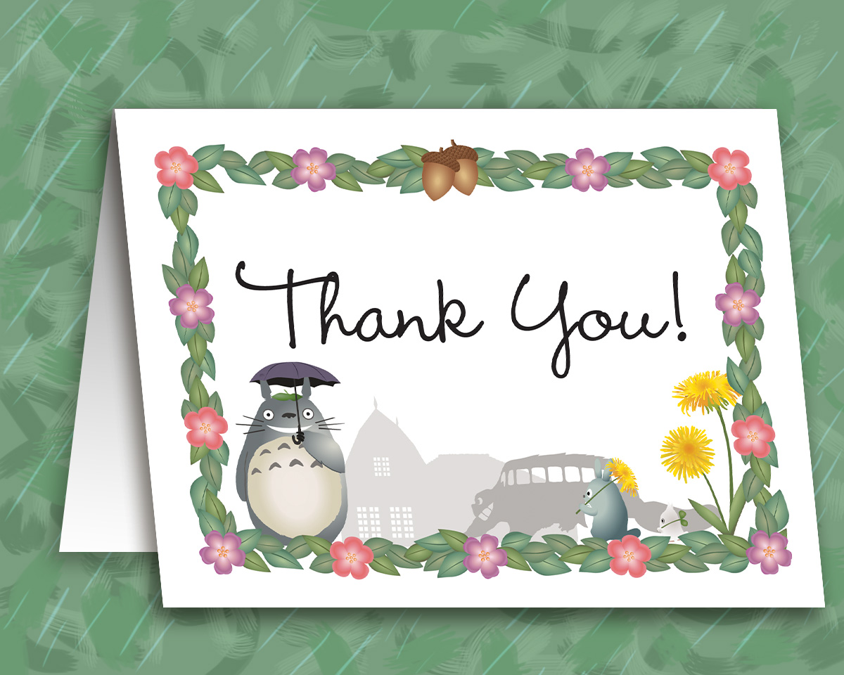 Editable My Neighbor Totoro Thank You Card Instant Download