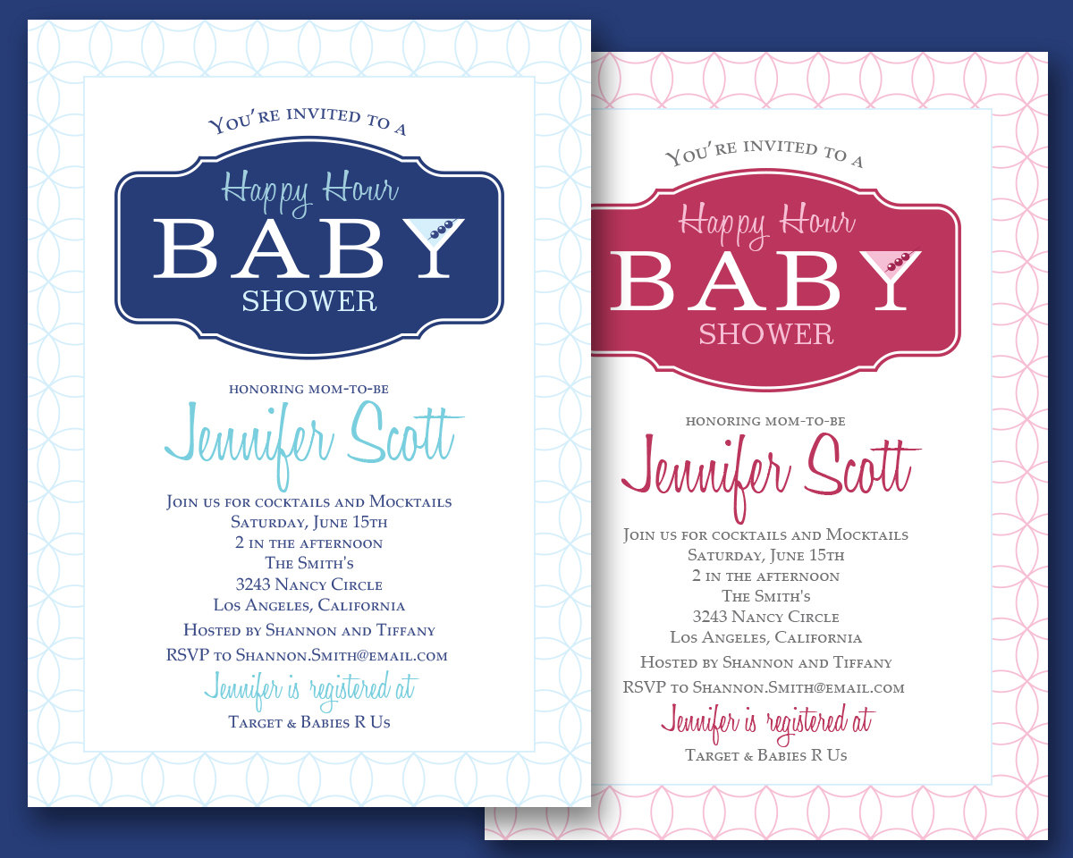 Custom Happy Hour Cocktail Party Baby Shower Invitation Downloadable